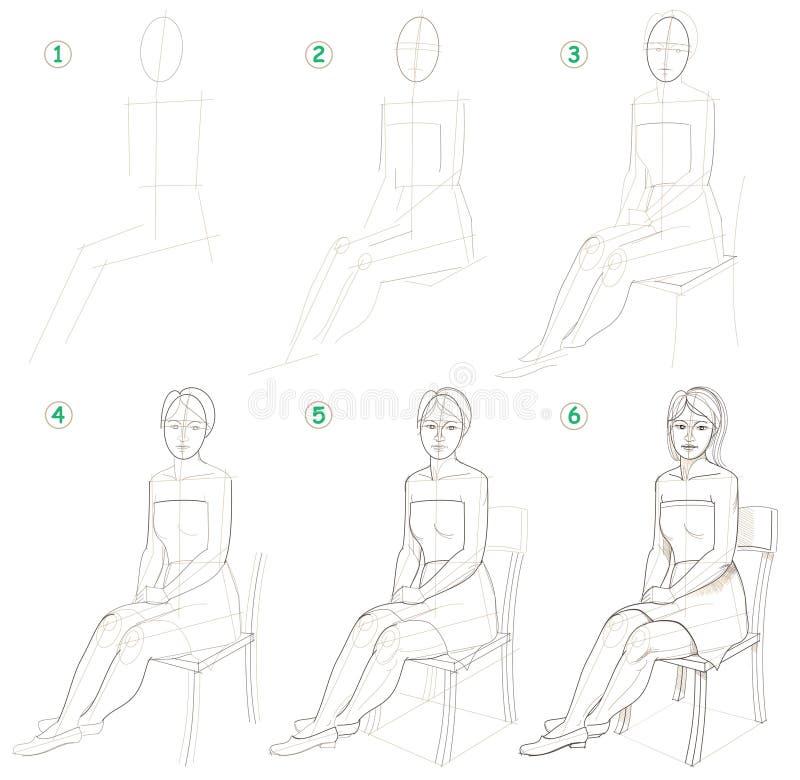 La página muestra cómo aprender paso a paso dibujar a una mujer que se sienta ilustración del vector