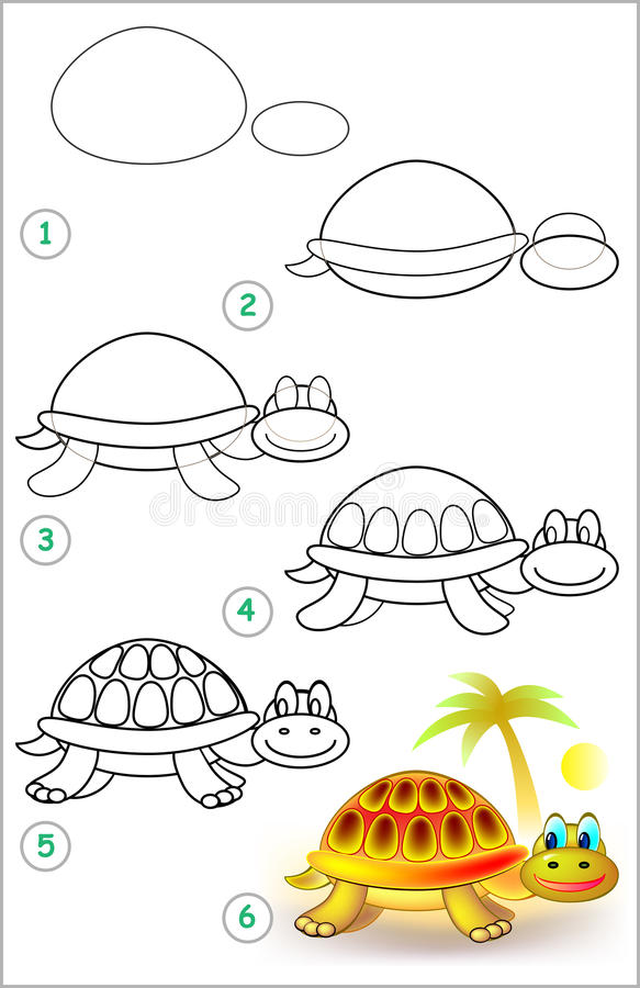 La página muestra cómo aprender paso a paso dibujar una tortuga stock de ilustración