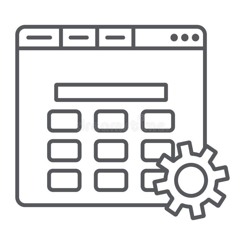 La página web puso la muestra fina de la línea icono, del ajuste y del servicio, del engranaje y del navegador, gráficos de vecto ilustración del vector