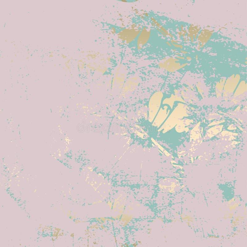 La pátina floral de moda de la hoja de oro se ruboriza fondo ilustración del vector