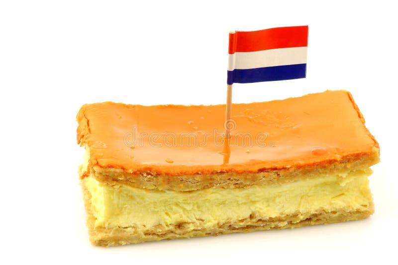 La pâtisserie hollandaise traditionnelle a appelé le tompouce photographie stock