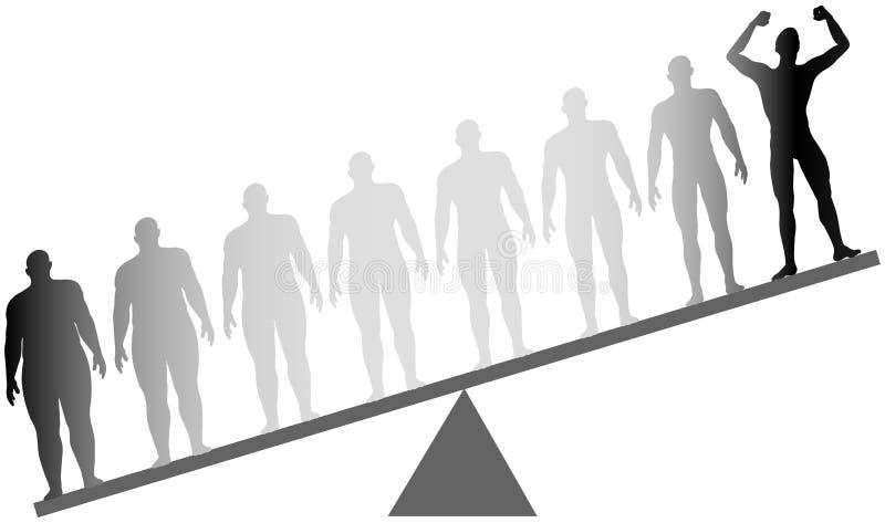 La pérdida de peso apta de la aptitud de la dieta de la grasa pesa la escala ilustración del vector