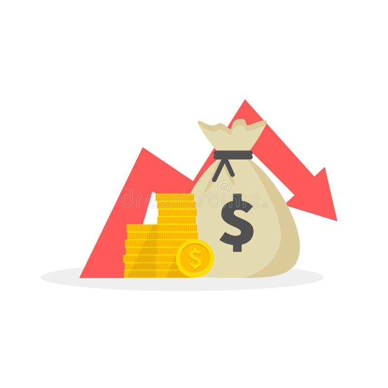La pérdida del dinero, abajo flecha almacena el gráfico, concepto de crisis financiera, caída del mercado Ilustración del vector stock de ilustración