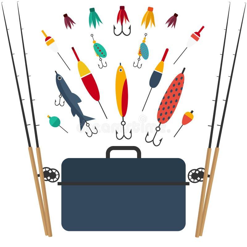La pêche de l'ensemble d'accessoires pour la pêche de rotation avec le crankbait leurre et les tornades et le flotteur en plastiq illustration de vecteur