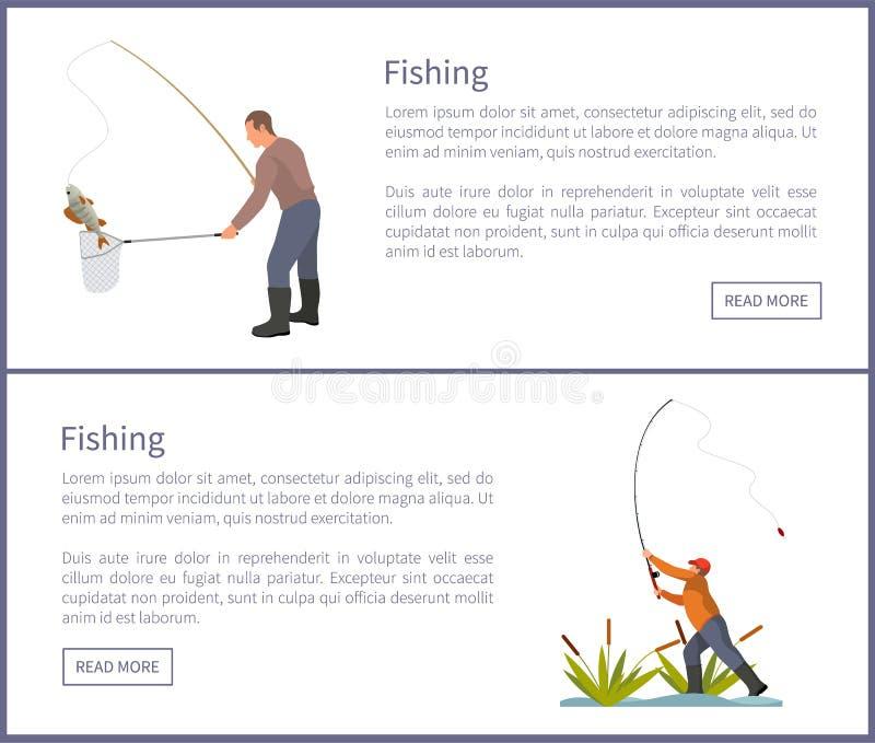 La pêche des affiches a placé l'illustration de vecteur de mâles illustration libre de droits
