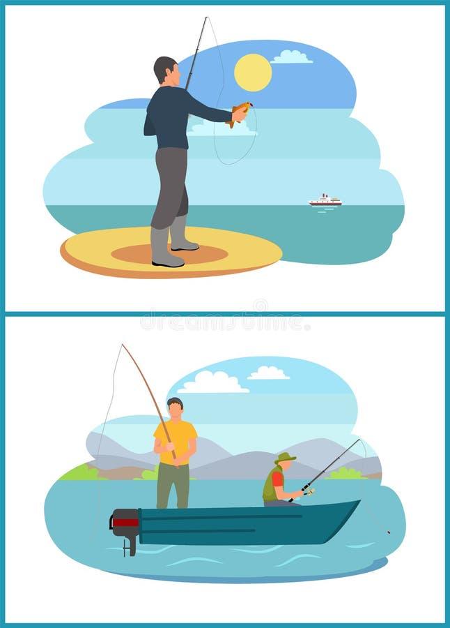 La pêche des personnes a placé l'illustration de vecteur d'images illustration libre de droits