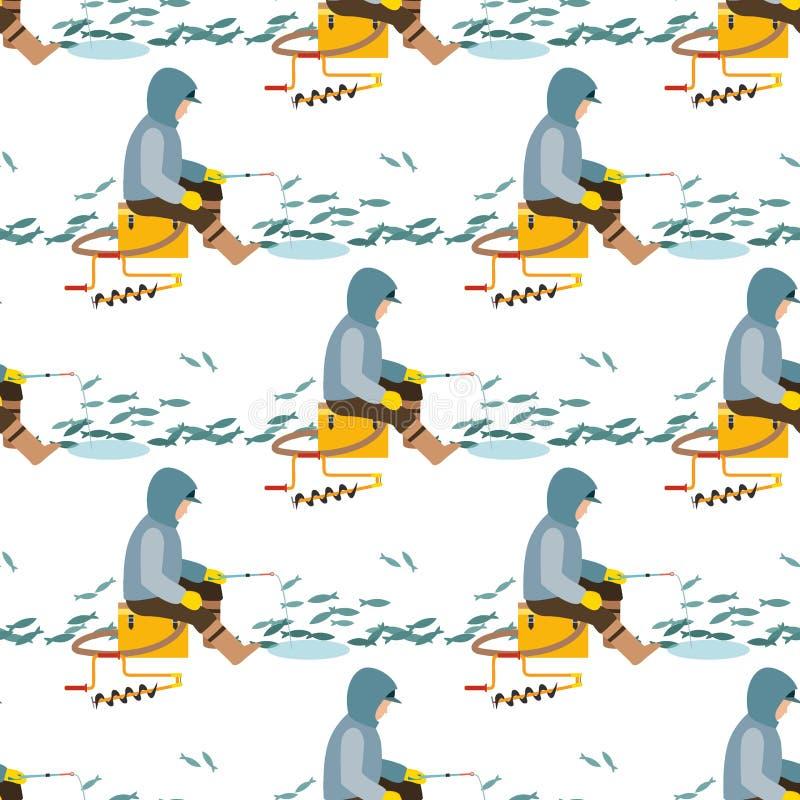 La pêche du pêcheur de poissons de crochets de vecteur de pêcheurs a jeté la tige dans le crochet de l'eau et la rotation, homme  illustration libre de droits