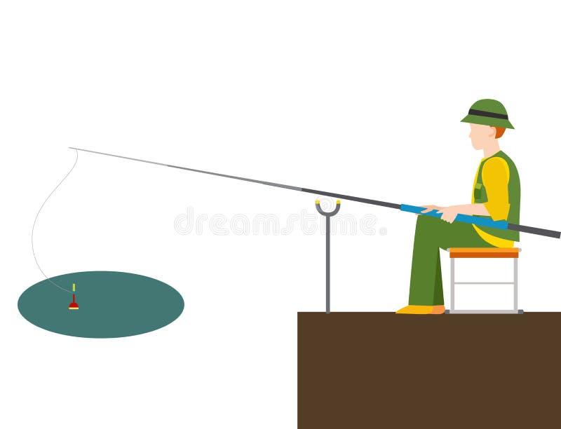 La pêche du pêcheur de poissons de crochets de vecteur de pêcheurs a jeté la tige dans le crochet de l'eau et la rotation, homme  illustration de vecteur