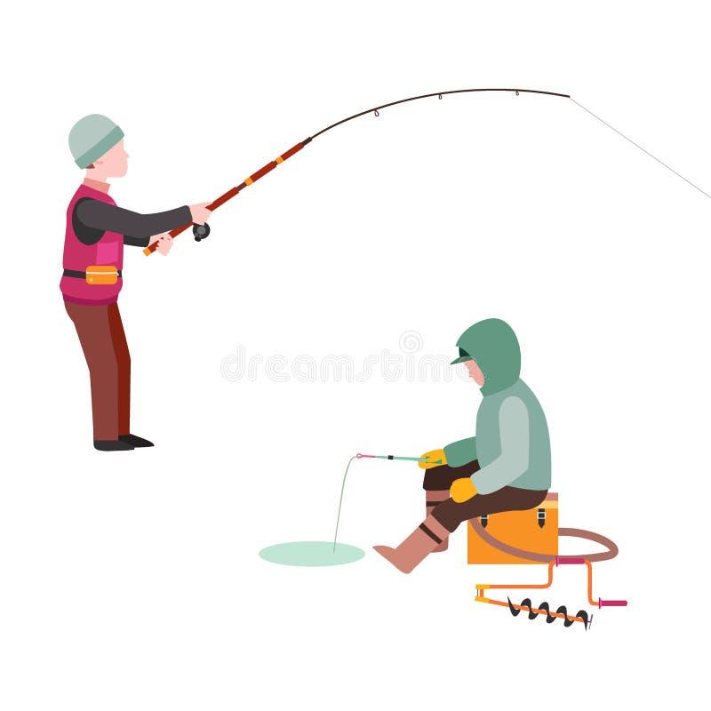 La pêche du pêcheur de poissons de crochets de vecteur de pêcheurs a jeté la tige dans le crochet de l'eau et la rotation, homme  illustration stock