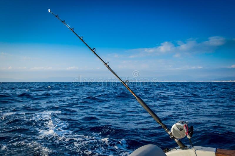 La pêche-tige équipée de la bobine images libres de droits