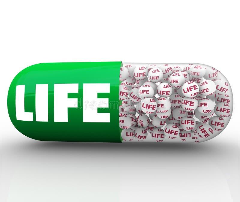 La píldora de la cápsula de la palabra de la vida mejora la medicina de la calidad de la salud de la salud ilustración del vector