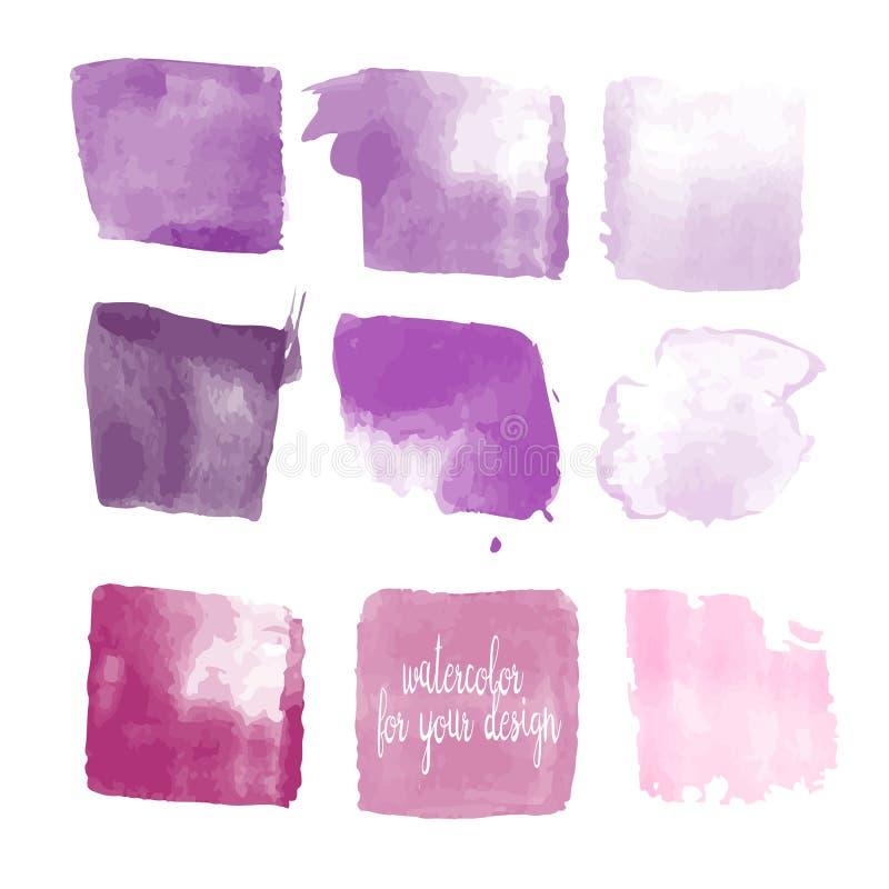 La púrpura colorea manchas de la pintura de la acuarela libre illustration