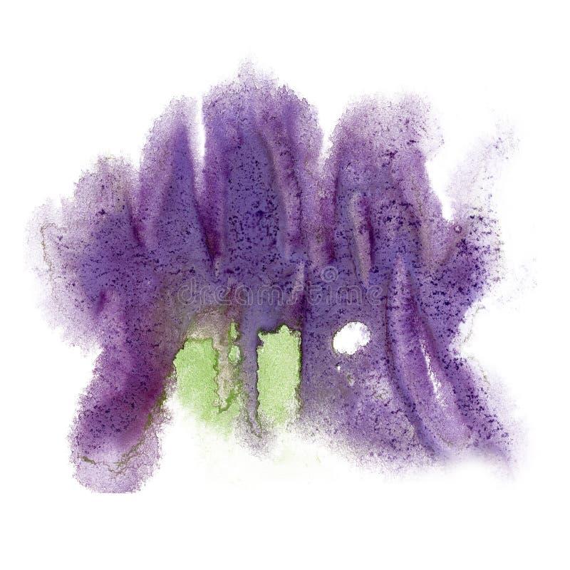 La púrpura de la acuarela de la tinta del color del chapoteo de la pintura aisló el cepillo del aquarel del watercolour de la sal foto de archivo