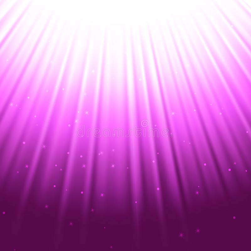 La púrpura irradia el fondo, chispas del polvo de estrella en la explosión, efecto luminoso especial del bokeh stock de ilustración