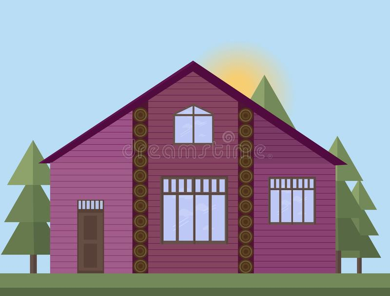 La púrpura pintó la fachada de madera de la casa en el fondo más forrest de la puesta del sol del ejemplo del vector libre illustration