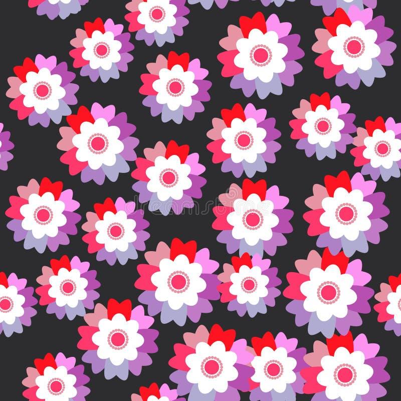 La púrpura rosada brillante del modelo inconsútil florece el aciano, violeta, pensamiento en fondo negro Vector libre illustration