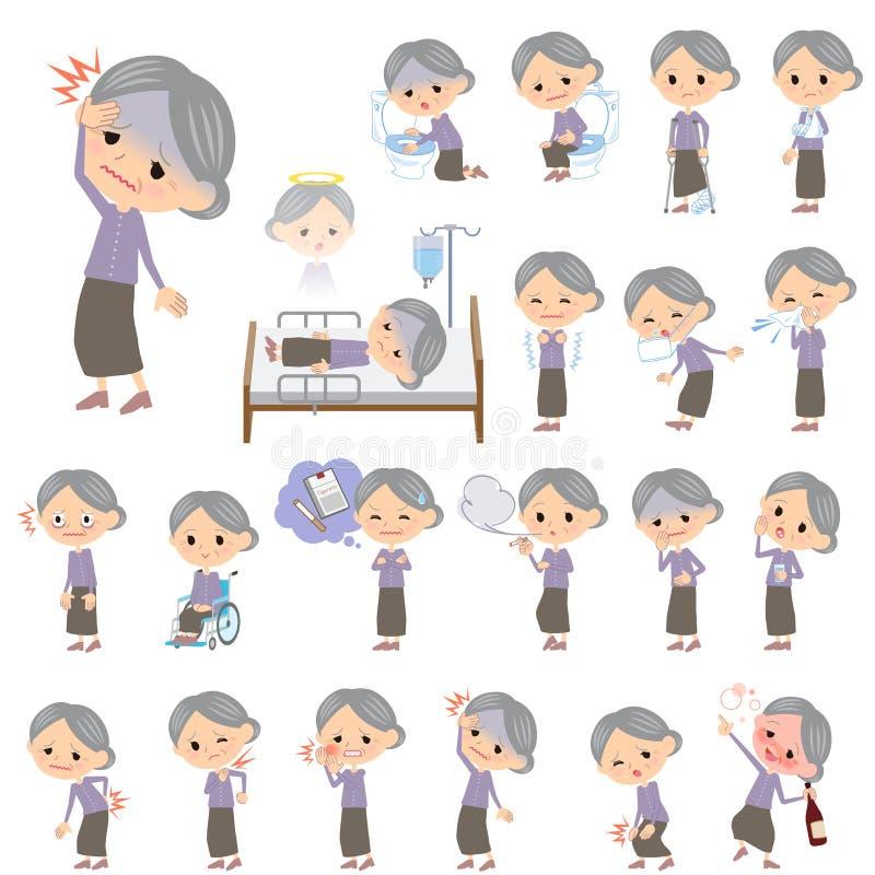 La púrpura viste a la abuela sobre la enfermedad stock de ilustración