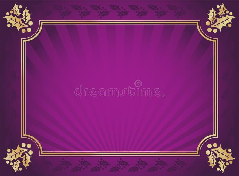La púrpura y el acebo elegante del oro cortaron el fondo stock de ilustración