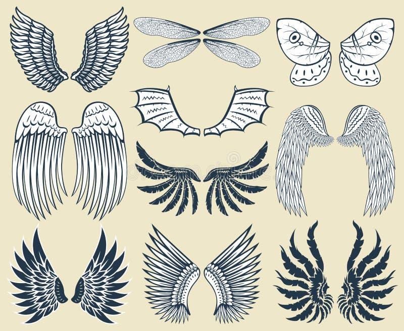 La pace naturale della piuma isolata ali del pignone dell'uccello di volo animale di libertà progetta l'illustrazione di vettore illustrazione di stock