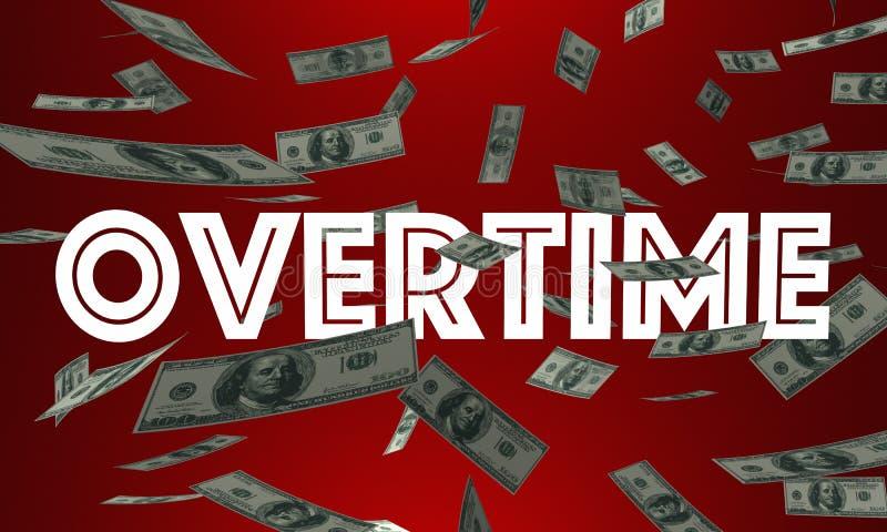 La paga del dinero gana en horas extras palabra adicional del efectivo stock de ilustración