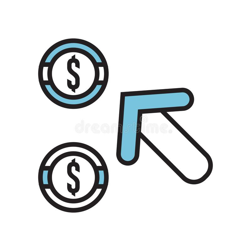 La paga per segno di vettore dell'icona di clic ed il simbolo isolato su fondo bianco, pagano per concetto di logo di clic illustrazione vettoriale