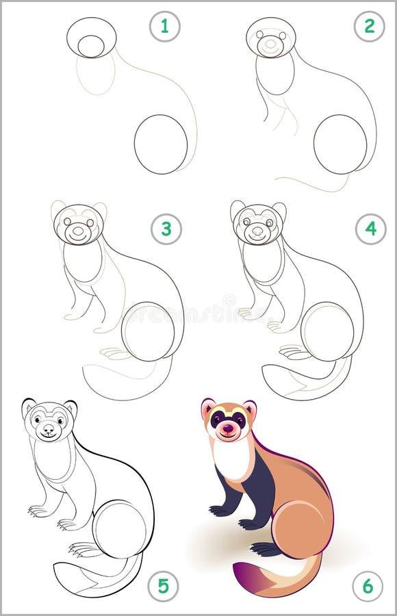 La page éducative pour des enfants montre comment apprendre point par point à dessiner un furet mignon De nouveau à l'école Quali illustration de vecteur