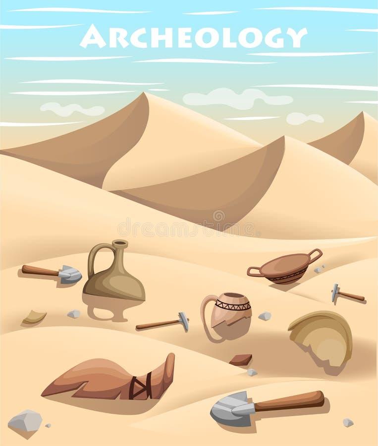 La page archéologique de site Web d'excavation d'archéologie et de concept de paléontologie et l'APP mobile conçoivent l'élément  illustration de vecteur