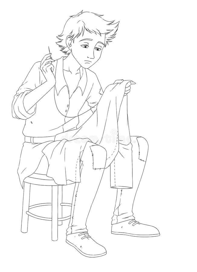 La page avec des exercices pour des enfants - livre de coloriage - gnome - fée - illustration pour les enfants illustration de vecteur