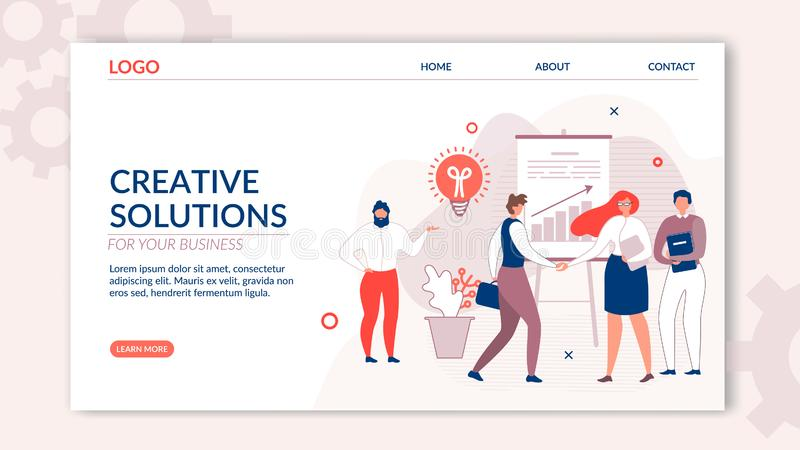 La page de débarquement offre la solution créative pour des affaires illustration de vecteur