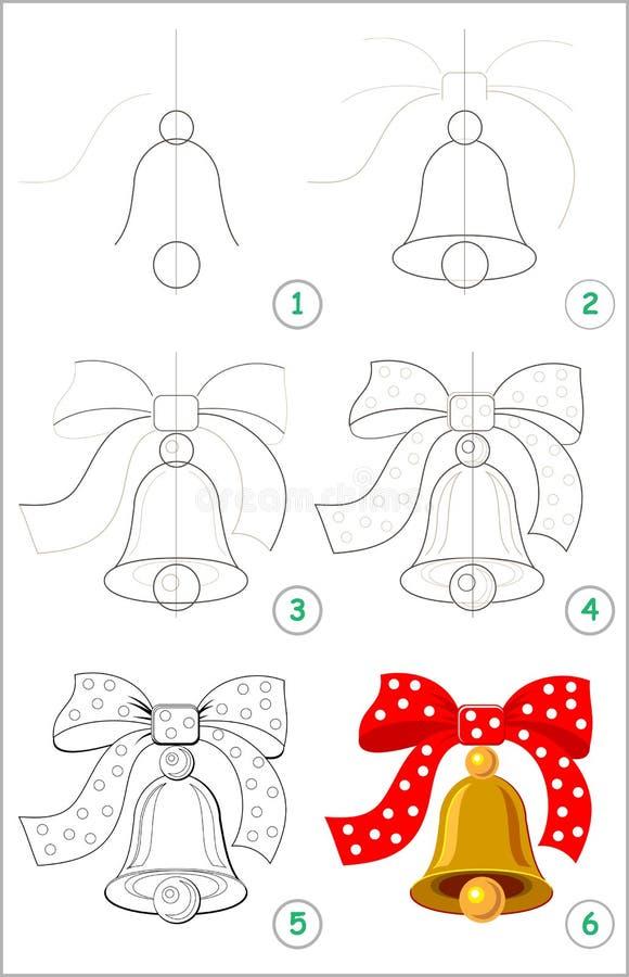 La page montre comment apprendre point par point à dessiner une cloche mignonne avec un arc Qualifications se développantes d'enf illustration stock