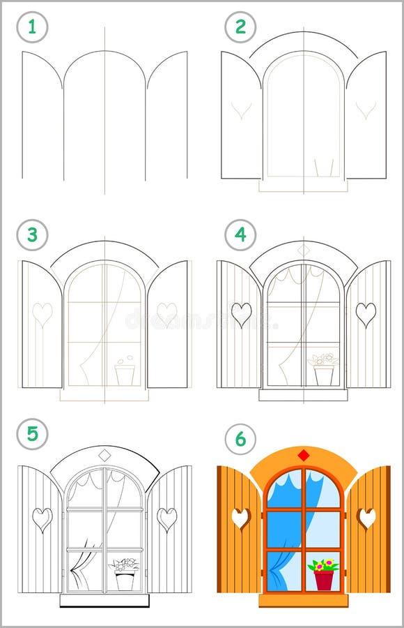 La page montre comment apprendre point par point à dessiner une fenêtre mignonne avec des volets Qualifications se développantes  illustration de vecteur