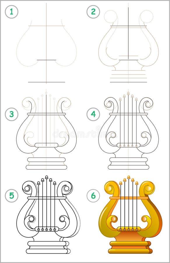 La page montre comment apprendre point par point à dessiner une lyre Image de vecteur Qualifications se développantes d'enfants p illustration de vecteur