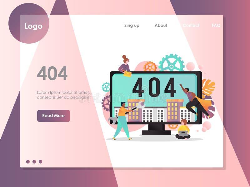 la page 404 pas a trouvé le calibre de page d'atterrissage de site Web de vecteur d'erreur illustration de vecteur