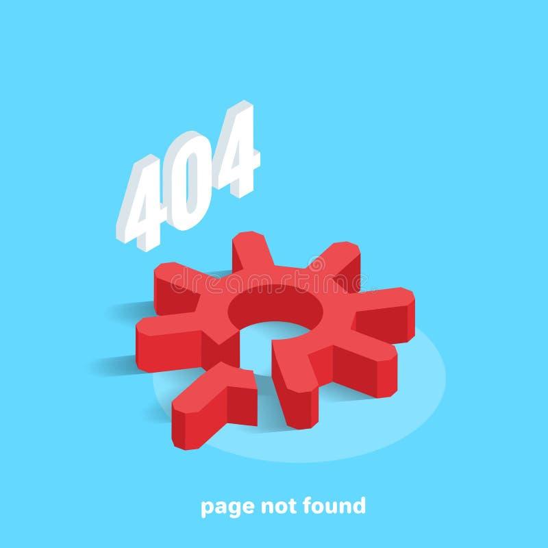La page pas a trouvé, vitesse rouge cassée sur un fond bleu et erreur 404 illustration stock