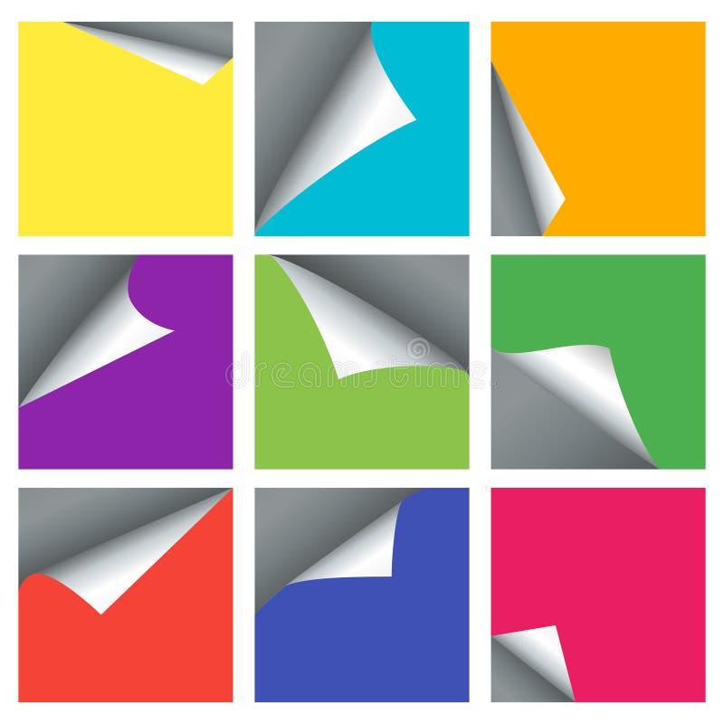 La page vide a courbé des milieux de vecteur de coins pour les bannières 3d illustration de vecteur