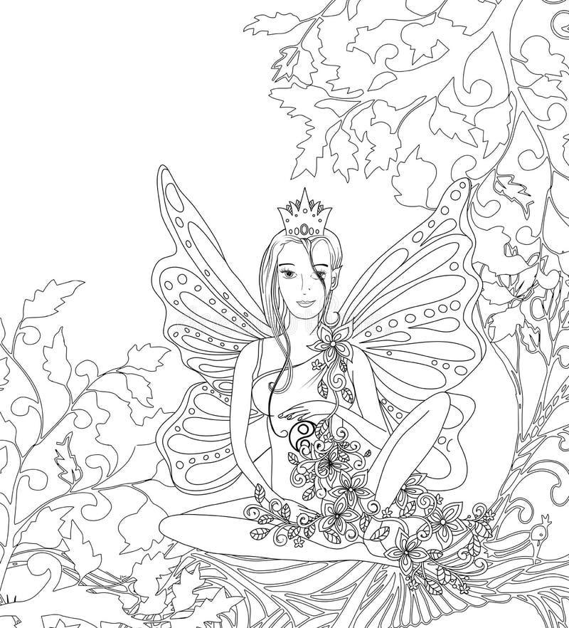 La pagina adulta del libro da colorare, signora leggiadramente isolata con la farfalla traversa Arte di stile di Zentangle Monocr illustrazione di stock