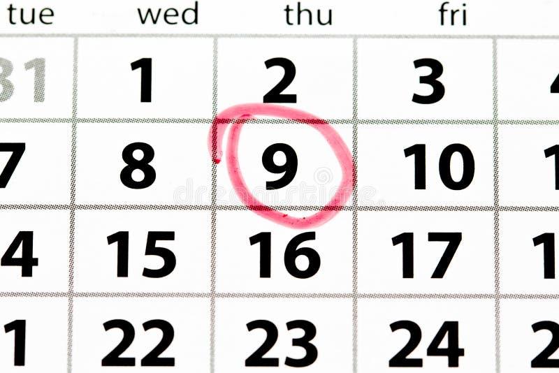 La pagina bianca del calendario con la data ha circondato nel rosso fotografia stock