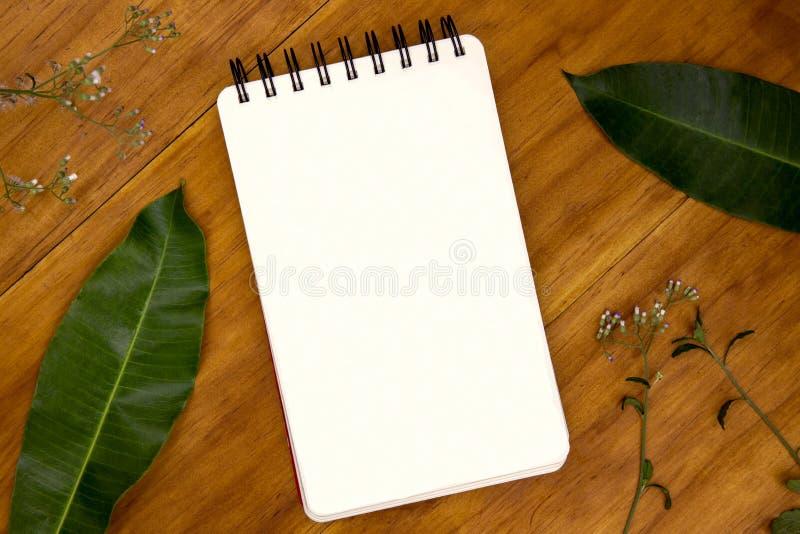 La pagina in bianco del cuscinetto di schizzo con l'erba e la foglia sul piano d'appoggio di legno rustico osservano la foto Sfon fotografia stock