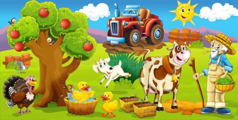 La pagina con gli esercizi per i bambini - azienda agricola - illustrazione per i bambini illustrazione vettoriale