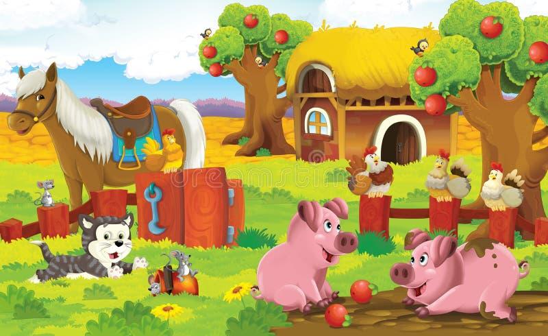 La pagina con gli esercizi per i bambini - azienda agricola - illustrazione per i bambini royalty illustrazione gratis