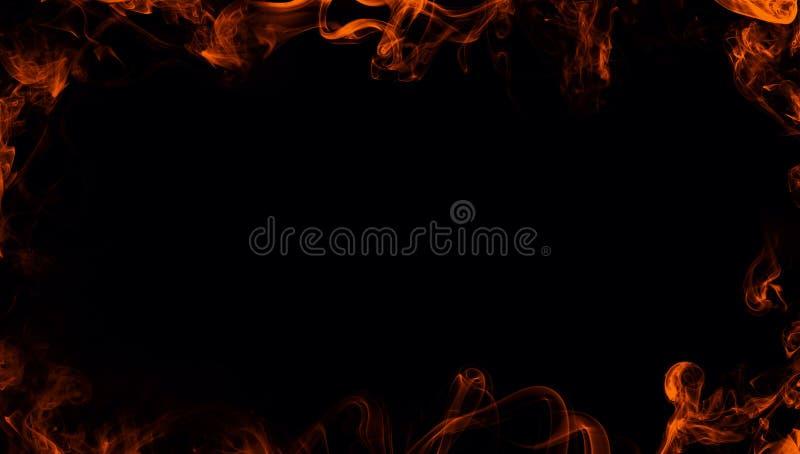 La pagina delle fiamme dell'incendio reale brucia il fumo di moto Sovrapposizioni di struttura del confine immagini stock