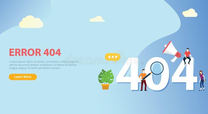 La pagina di errore 404 non ha trovato il modello del sito Web con il gruppo della gente che collabora con il fondo blu illustrazione vettoriale