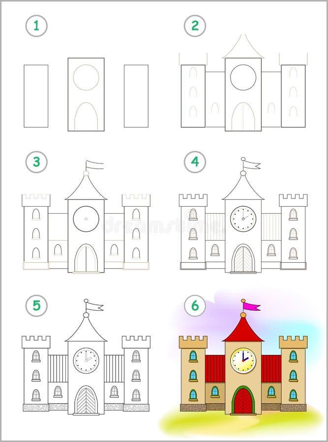 La pagina mostra come imparare per gradi disegnare il castello medievale sveglio Abilit? di sviluppo dei bambini per il disegno e illustrazione vettoriale