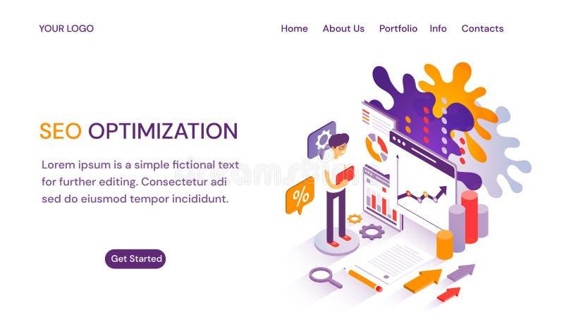 La pagina Web di SEO Optimization o il modello del sito Web con le linguette dell'intestazione manda un sms allo spazio della cop illustrazione vettoriale
