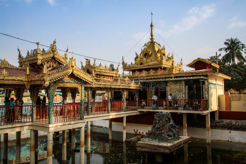 La pagoda de Botataung pone a tierra al final del día, Rangún, Myanmar fotos de archivo libres de regalías