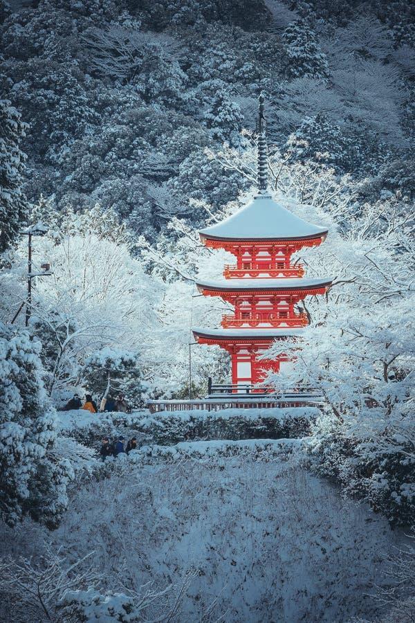 La pagoda rossa al tempio di Kiyomizu-dera con l'albero ha riguardato il fondo bianco della neve immagini stock libere da diritti