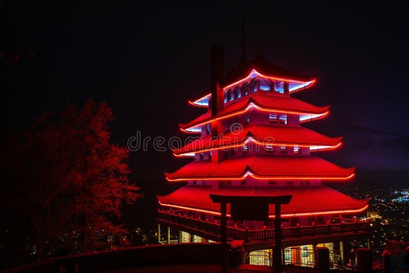La pagoda sur la commande d'horizon la nuit, dans la lecture, la Pennsylvanie image libre de droits