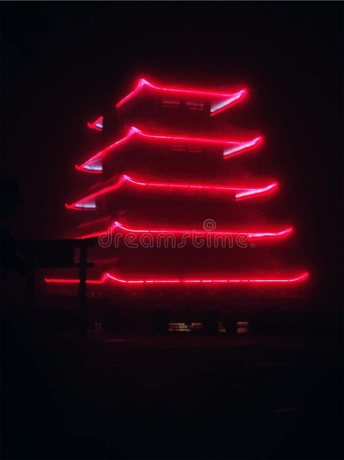 La Pagode s'illumine la nuit photo stock