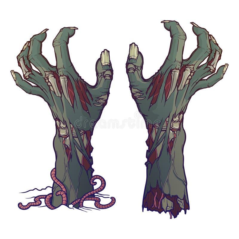 La paire du zombi remet augmenter de la terre et déchiré description réaliste de l'éclair de décomposition avec la peau en lambea illustration libre de droits