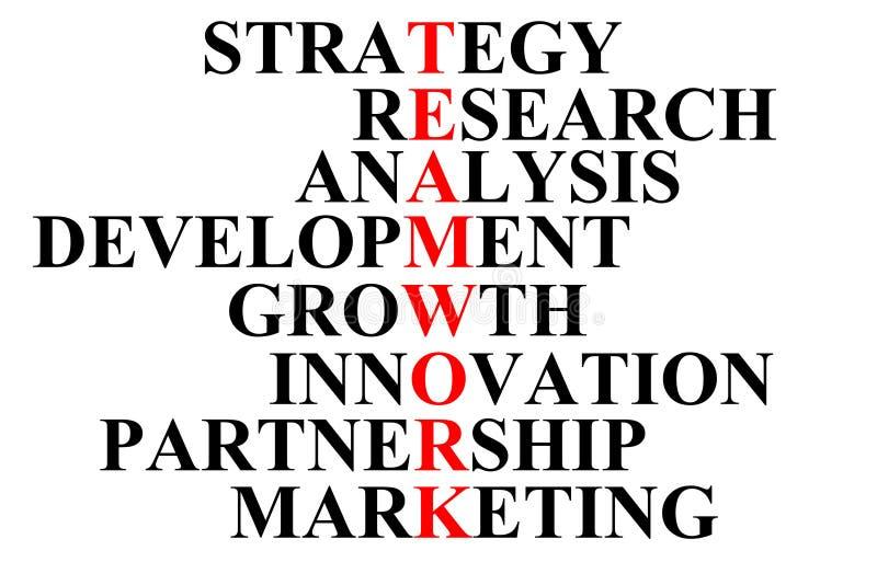 La palabra 'trabajo en equipo 'se escribe en letras rojas y se compone de una combinación de otras palabras ilustración del vector